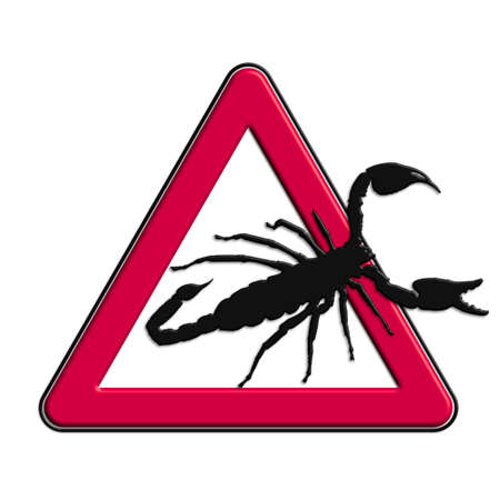 Warning or caution in red scorpions Stock Photo