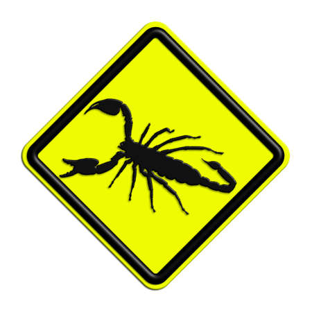Warning or caution yellow and black scorpions Stock Photo