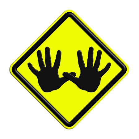 icona: Warning or caution in yellow and black alt Stock Photo