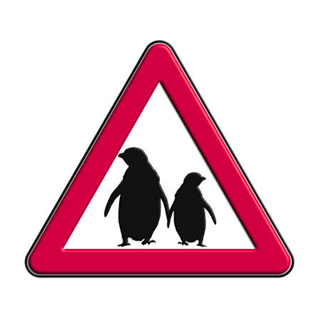 Warning or caution in red penguins