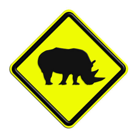 icona: Warning or caution in yellow and black rhinos Stock Photo