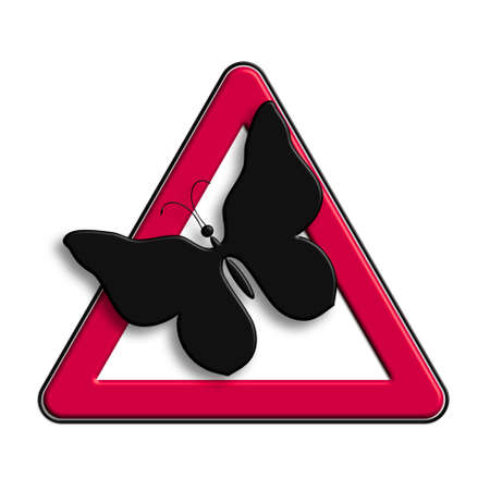 Warning or caution in red butterflies.