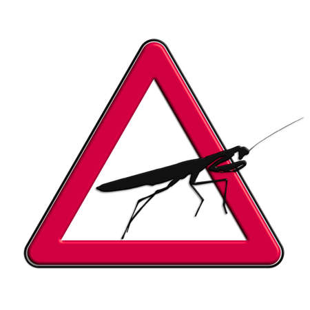 Warning or caution red grasshopper