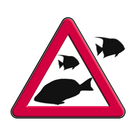 Warning or caution red fish