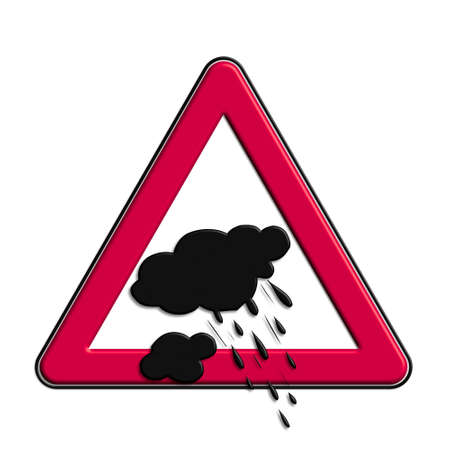 Warning or caution red rain