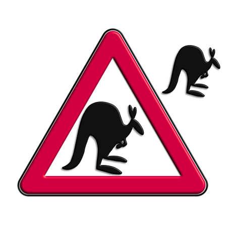 Warning or caution red kangaroos