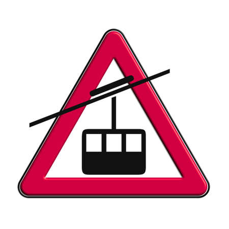 icona: Warning or caution red cableway