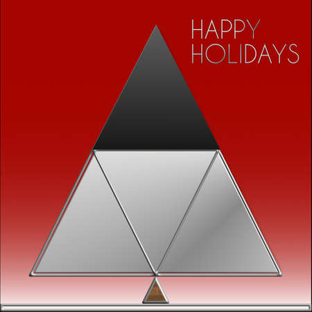 Albero di Natale Happy Holidays Steel Archivio Fotografico