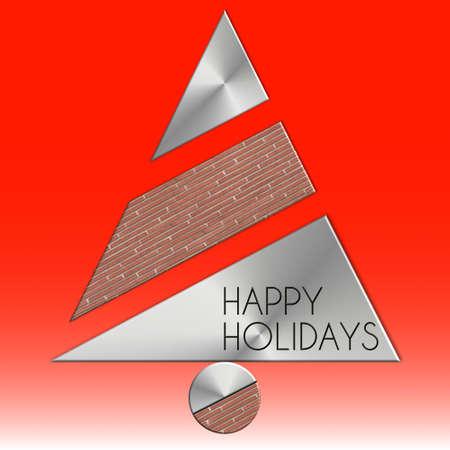 Albero di Natale e mattoni in metallo