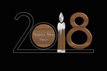 Acciaio e legno di Happy New Year 2018