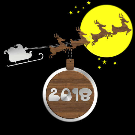 numero: Santa Claus with reindeer 2018 in steel and wood