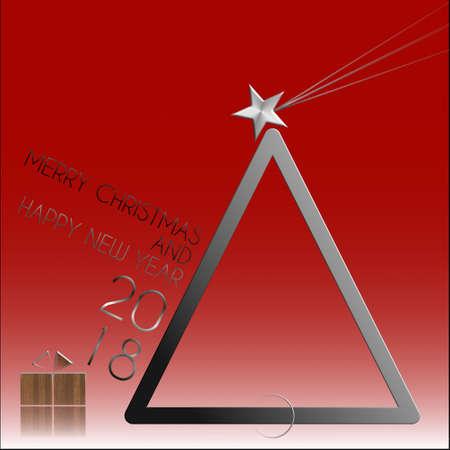 Star cometa metallo e legno felice anno nuovo 2018 Archivio Fotografico