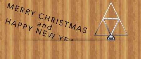 acciaio albero di Natale Merry Christmas