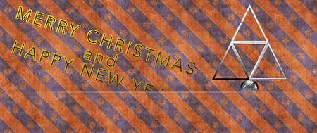 acciaio albero di Natale Merry Christmas Archivio Fotografico