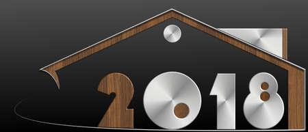 2018 con profilo in metallo e legno