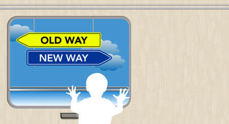 Child looks out the train window, Old Way and New Way sign Stockfoto