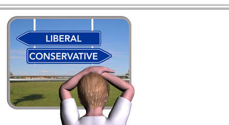 Child looks out the train window, LIBERAL and CONSERVATIVE sign
