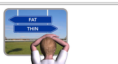 Child looks out of the train window, FAT and THIN sign