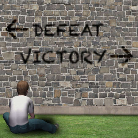 Boy in front of the choices of life, DEFEAT or VICTORY