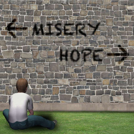 Boy in front of the choices of life, MISERY or HOPE Stock Photo