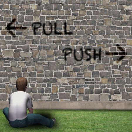 Boy in front of the choices of life, PULL, PUSH
