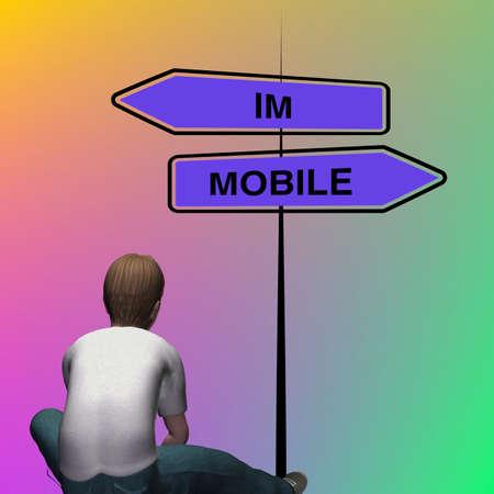 인생의 선택 앞에 앉아있는 소년, IMMOBILE 또는 MOBILE