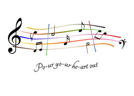 Pour your heart out music sheet Stock Photo