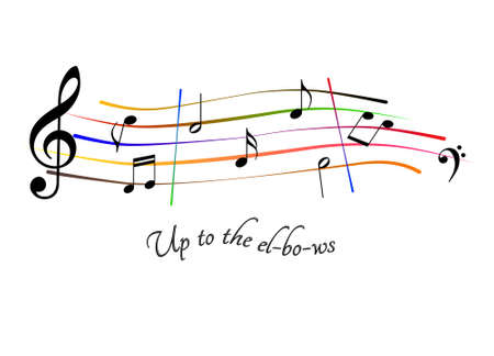 Up to the elbows musical score Stock Photo