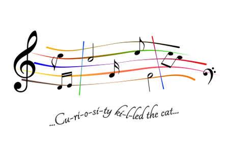 Musical score Curiosity killed the cat Stock Photo