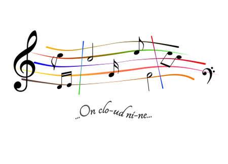 Musical score On cloud nine Stock Photo