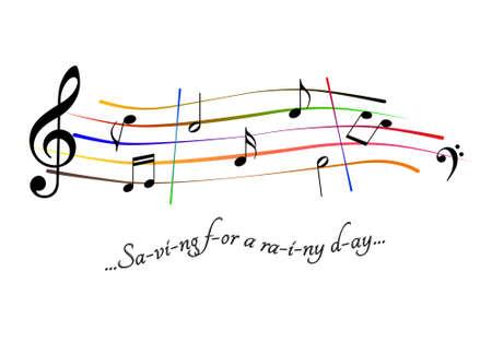 Musical score Saving for a rainy day Archivio Fotografico