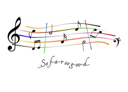 Musical score So far so good Stock Photo