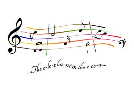 Musical score The elephant in the room Stock Photo