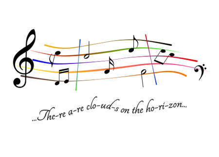 Musical score. There are clouds on the horizon Stock Photo