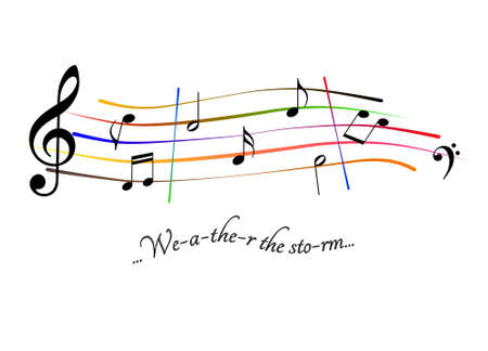 Musical score Weather the storm Stock Photo
