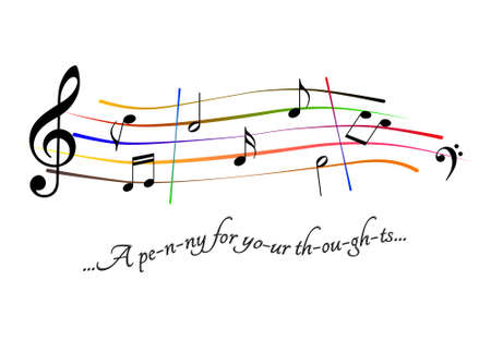 Musical score A penny for your thoughts Stock Photo