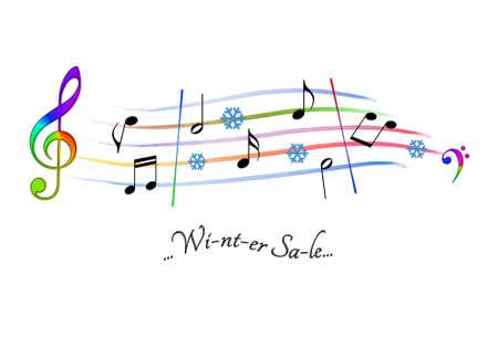 Musical score colored Winter Sale