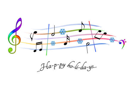 Musical score colored Happy holidays