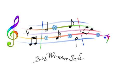 Musical score colored Big Winter Sale Stock Photo