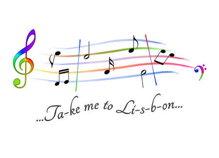 Musical score colored Take me to Lisbon Stock Photo