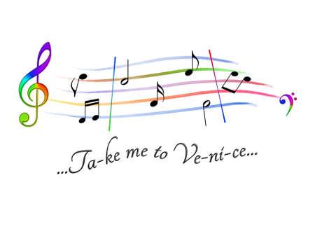 Musical score colored Take me to Venice Stock Photo