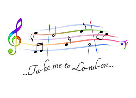 Musical score colored Take me to London