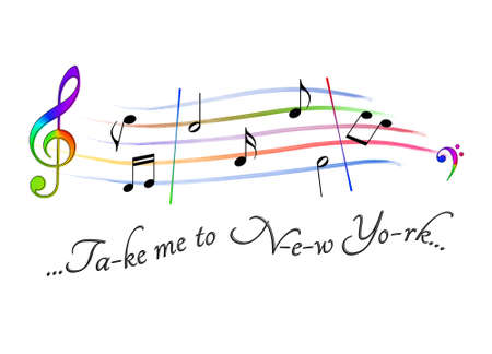 Musical score colored Take me to New York Stock Photo