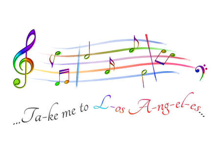 Musical score colored Take me to Los Angeles Stock Photo