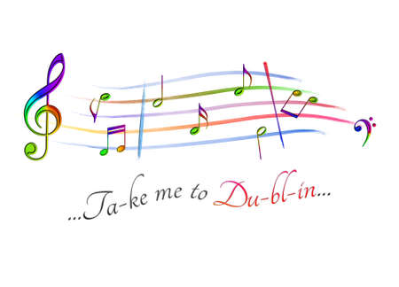 Musical score colored Take me to Dublin Stock Photo