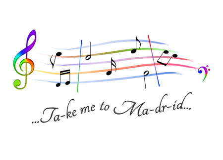 Musical score colored Take me to Madrid Stock Photo