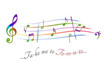 Musical score colored Take me to Toronto