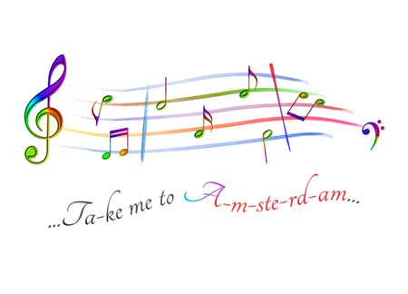 Musical score colored Take me to Amsterdam