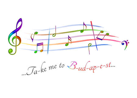 Musical score colored Take me to Budapest Stock Photo