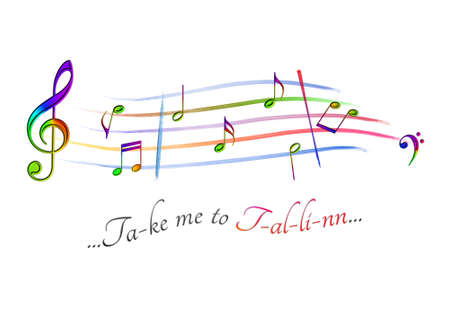 Musical score colored Take me to Tallinn Stock Photo